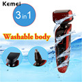 Kemei 3 in 1 Washable Electric Shaver Razor Trimmer Rechargeable Men's beard Shaving Machine Ear & Nose Trimmer Face Care P00