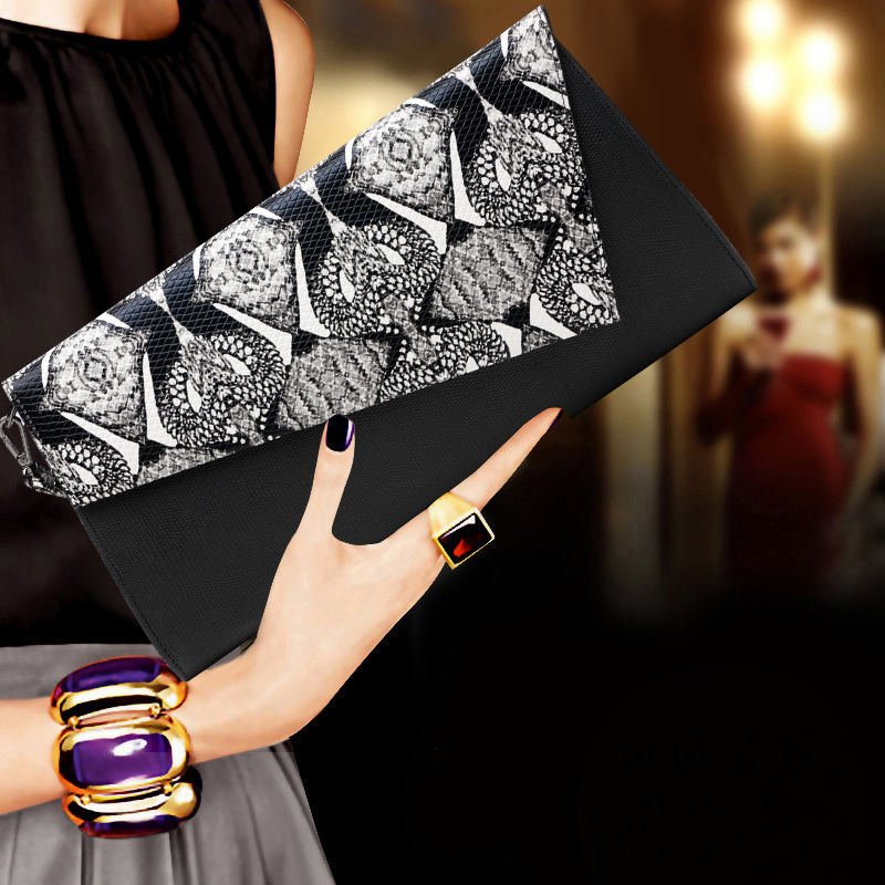 2017 New Serpentine Genuine Leather Womens Black Clutch Vintage Day Clutches Lady Evening Bags Dinner Party Purses Shoulder Bag free shipping new 2017 fashion black white golden diamonds luxury quality mini party dinner bags day clutches evening bag rqr072