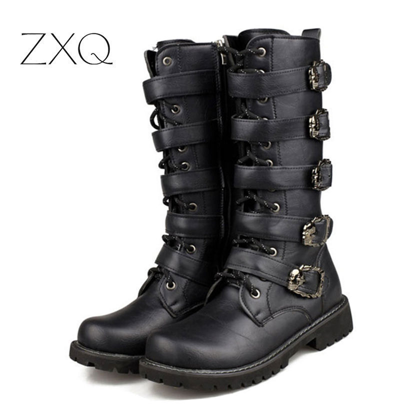 3add1812c Personality Men Long Army Boots High Military Combat Boots Metal Buckle Punk  Male Motorcycle Boots Lace Up Men's Shoes