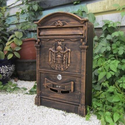 Vintage Letter Box Venkovní Uzamknout Secure Noviny Mail Postbox Creative zahradní Retro poštovní schránka s hliníkovou nástěnnou věšák