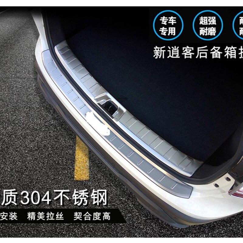 2 pièces/ensemble d'accessoires pour 2015 2016 2017 NISSAN QASHQAI J11 protecteur de pare chocs arrière CARGO botte seuil de caisse plaque lèvre de coffre|Chrome décoratif| |  -