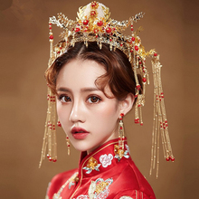 Chinese Style Bridal Tiara Phoenix Coronet Wedding Hair Crown Headdress Women Baroque Headband Princess Hair Jewelry Ornament phoenix wedding hair jewelry chinese style handmade red crystal bridal jewelry animal headdress tassels hair accessories