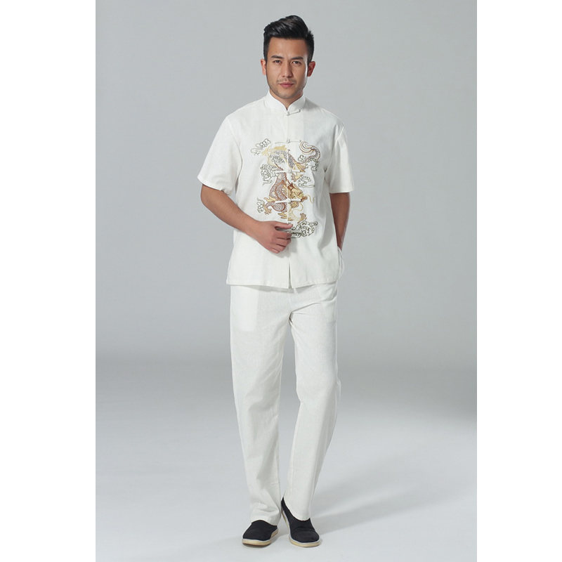 G-LIKE New Style Chinese Traditional Embroidered Dragon Tang Suit Sets Martial Arts Clothing Breathable Shirts + Pants Trousers