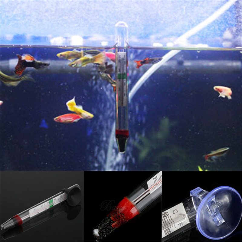 2pcs Mini Aquarium Thermometer Household Fish Tank Water Temperature Meter Easy To Read Accurate Figures With Suction Cup