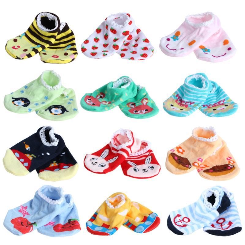 Lovely Baby Socks Cute Boys Girls Children Cartoon Printed Anti-Slip Socks Slippers Soft Baby Boat Socks Random Color
