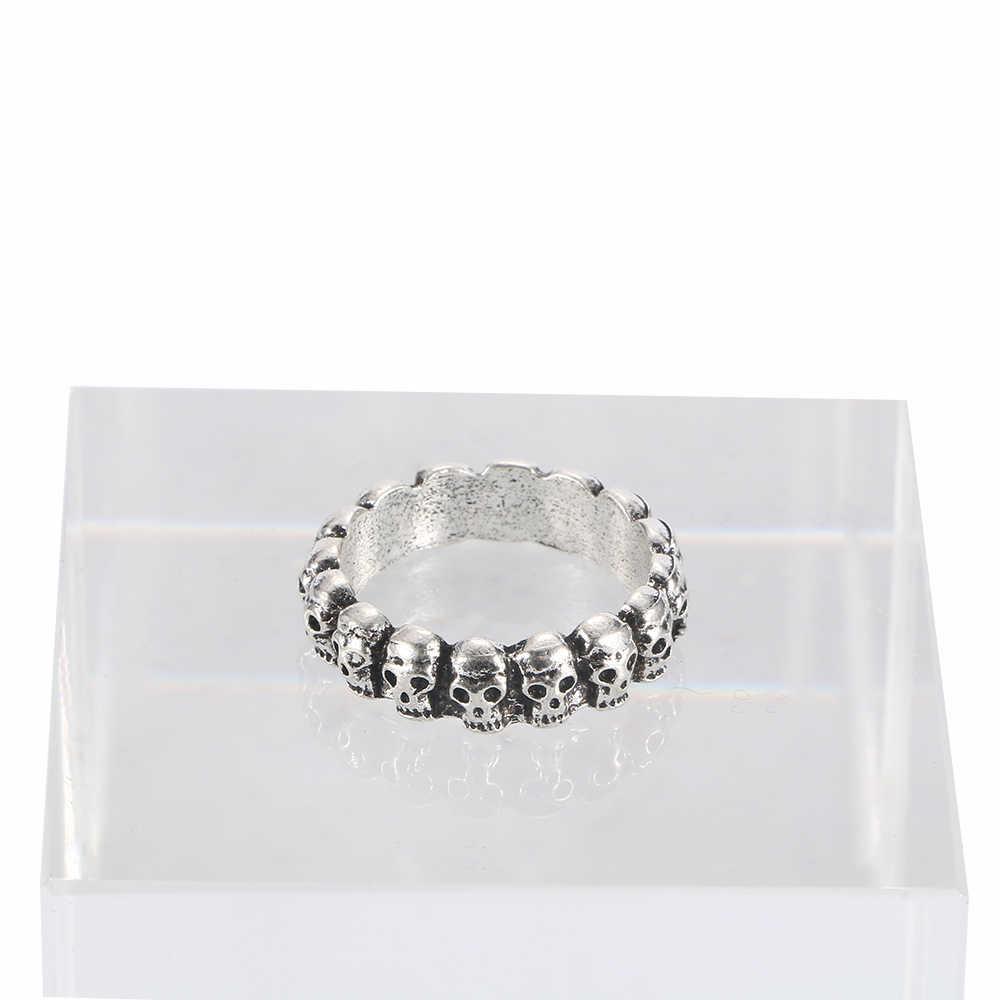 แฟชั่น Punk Skull แหวนสำหรับผู้ชายผู้หญิง Cool Hip Hop เครื่องประดับโบราณเงินสีของขวัญ NICE Gothic โครงกระดูกแหวน 1Pcs