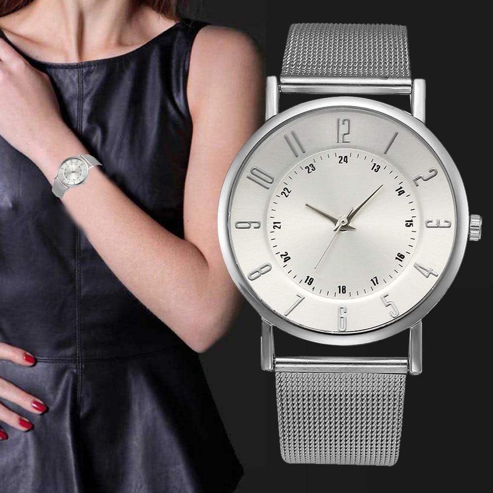 Relogio Щепка Часы из нержавейки Для женщин классический металлический сетки Группа Кварцевые наручные часы дамы Бизнес часы простой часы # Ju
