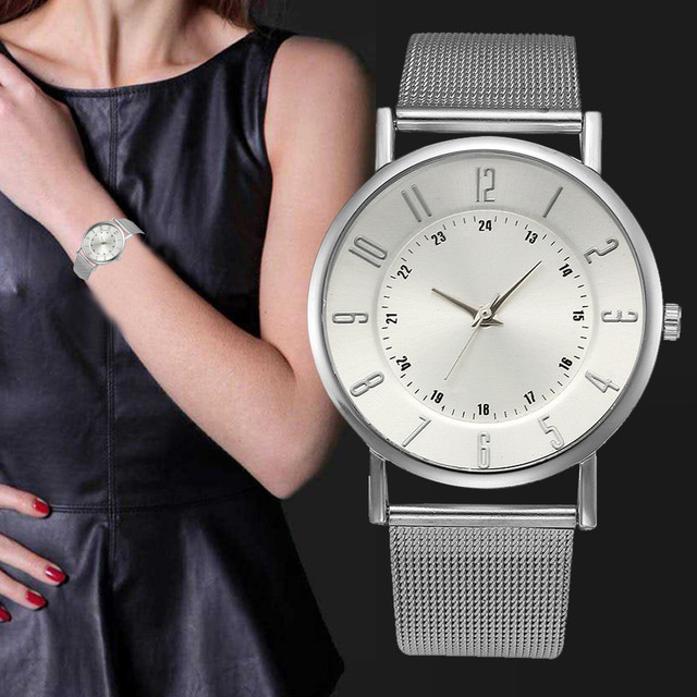 Relogio Sliver Stainless Steel Watches Women Classic Metal Mesh Band Quartz Wris