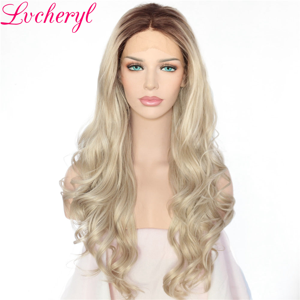 Lvcheryl Long Natural Ombre Dark Roots To Blonde Body Wave Hand Tied Heat Resistant Hair Synthetic Lace Front Wig for Women-in Synthetic None-Lace  Wigs from Hair Extensions & Wigs    1