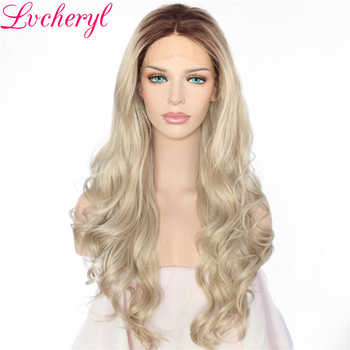 Lvcheryl Long Natural Ombre Dark Roots To Blonde Body Wave Hand Tied Heat Resistant Hair Synthetic Lace Front Wig for Women - SALE ITEM Hair Extensions & Wigs