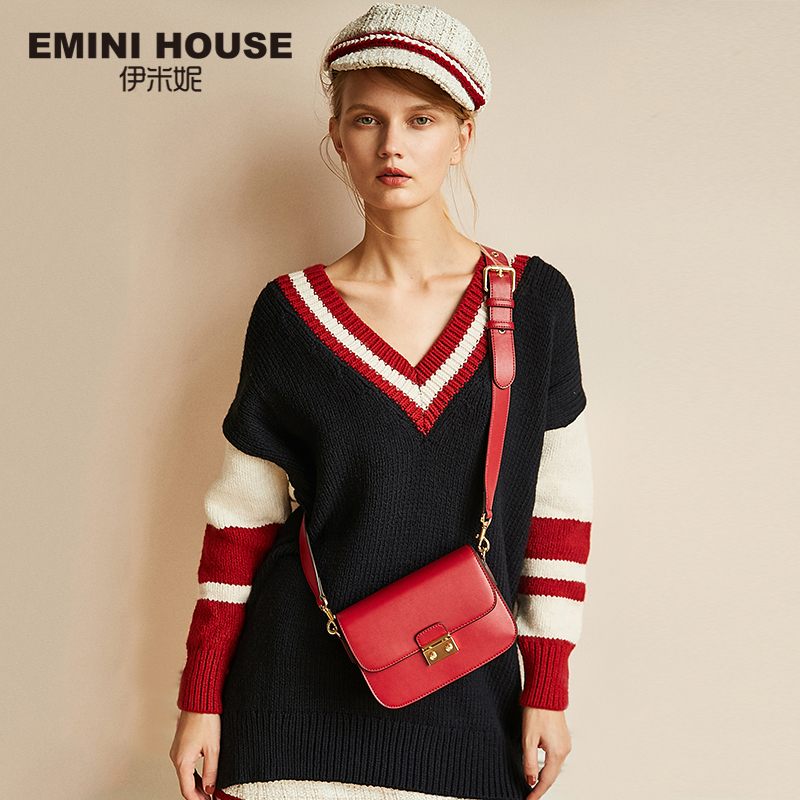 EMINI HOUSE Vintage Flap Padlock Bags Split Leather Women Shoulder Bag Fashion Crossbody Bags High Quality
