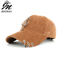 Joymay New Arrival High Quality Corduroy Snapback Cap Baseball Cap With LOVE Metal Pendant Hat For