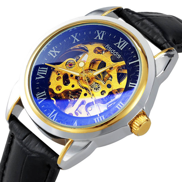 Luxury Brand Watch Men Business Stainless Steel Strap Hollow Mechanical Wristwatches