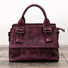 Genuine Nature Leather For Women Vintage Handbag Real Cowhide Crossbody Female Laptop Bag Retro Solid Totes bolsa feminina