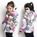 Frete grátis menina do Inverno novo algodão-acolchoado roupas passar mais chateado com capuz outerwear inverno quente