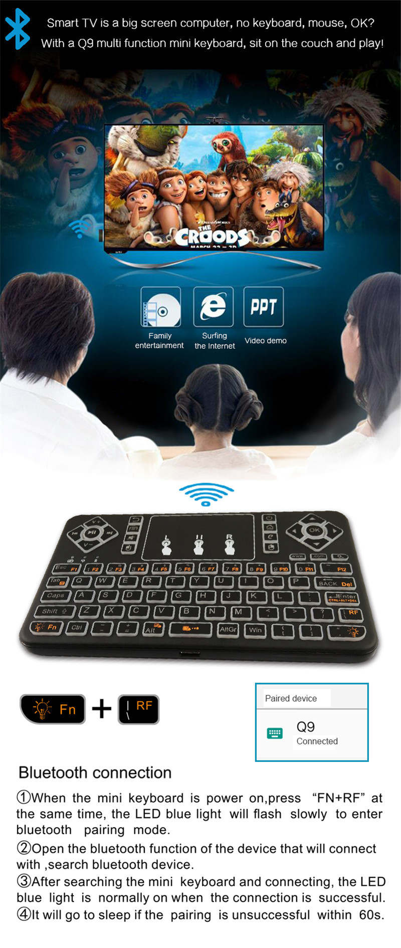 US $16 01 17% OFF Mini Wireless Backlit Keyboard bluetooth Touchpad  Keyboard RGB Fly Air Mouse Remote Control for Android TV Box Smart TV-in  Keyboards