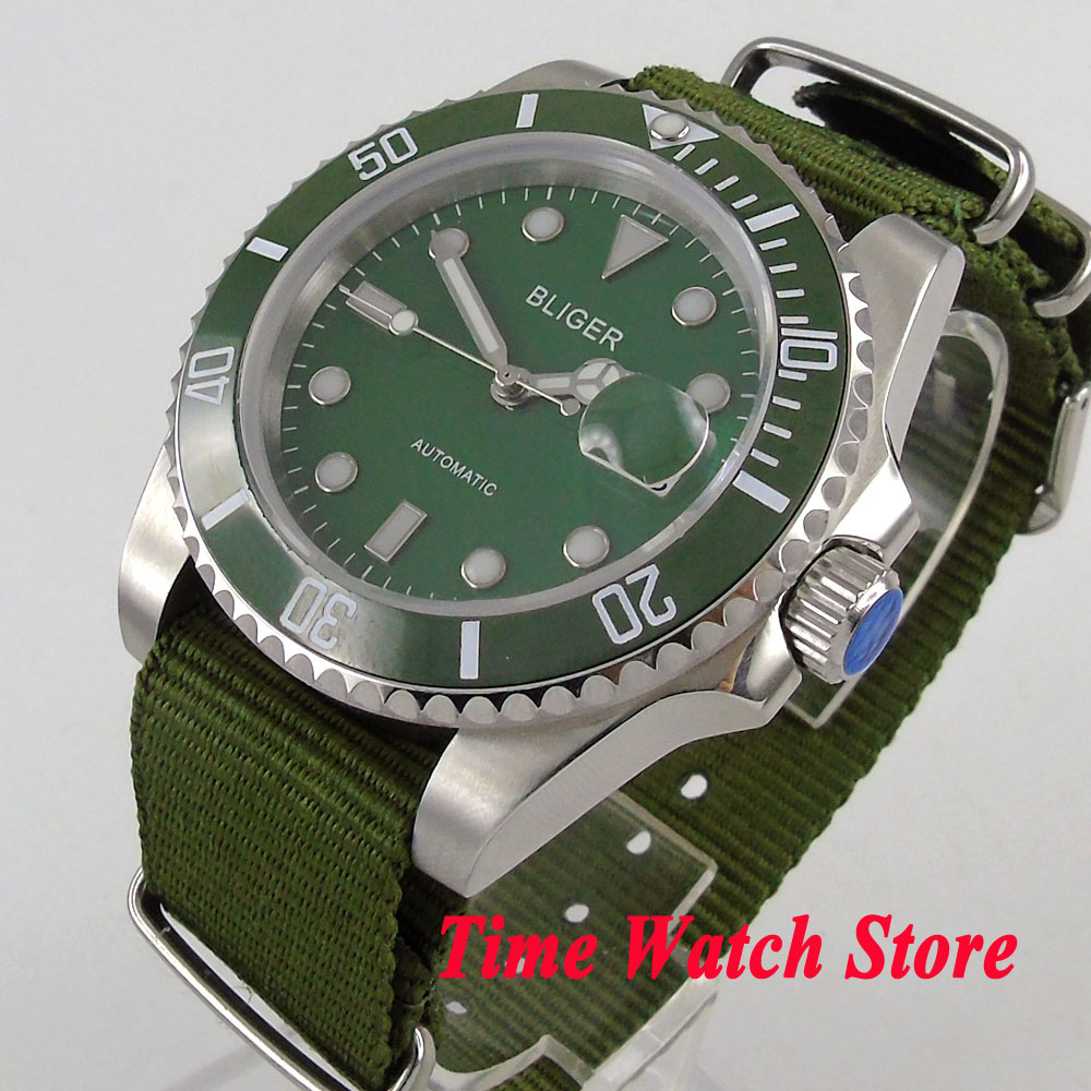 лучшая цена Bliger 40mm men's watch green dial luminous saphire glass green Ceramic Bezel Automatic movement wrist watch men 103