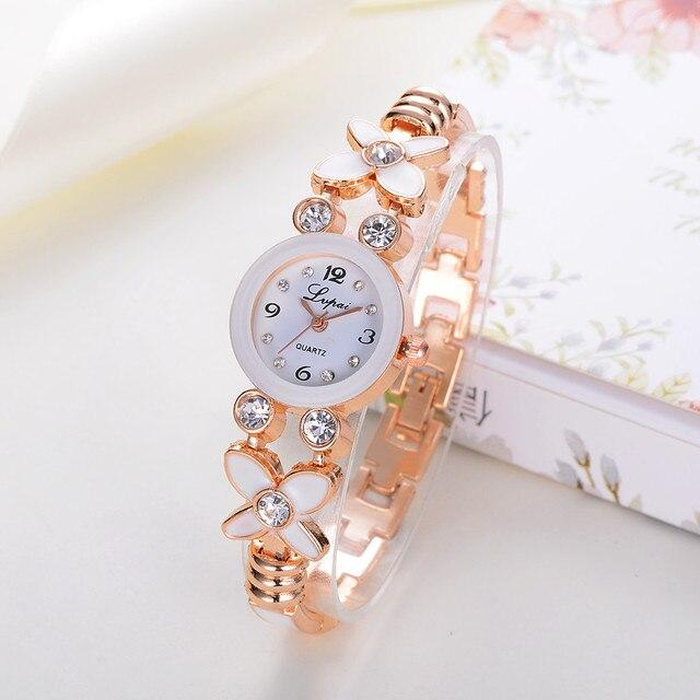 Luxury Brand Women Flower Watches Quartz Ladies Stainless Steel Bracelet Watch D