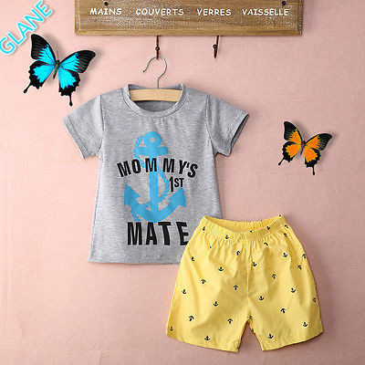2016 2Pcs Summer Boys Grey Anchor Letters T-shirt+Yellow Shorts Kids Baby Cotton Set Sports Suit For Baby Kids Boy Clothes