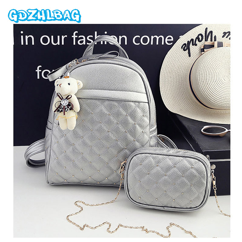 Vintage Lady PU Leather Bag Small Women Mini Backpack Mochila Feminina School Bags for Teenagers Bolsa 2018 NEW 2Pcs/set B301 2017 new fashion designer women backpack women travel bags vintage school shoulder bag motorcycle bag mochila feminina
