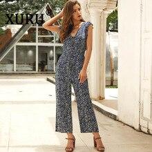 XURU temperament fashion casual floral chiffon jumpsuit nine pants summer new V-neck print womens loose straight