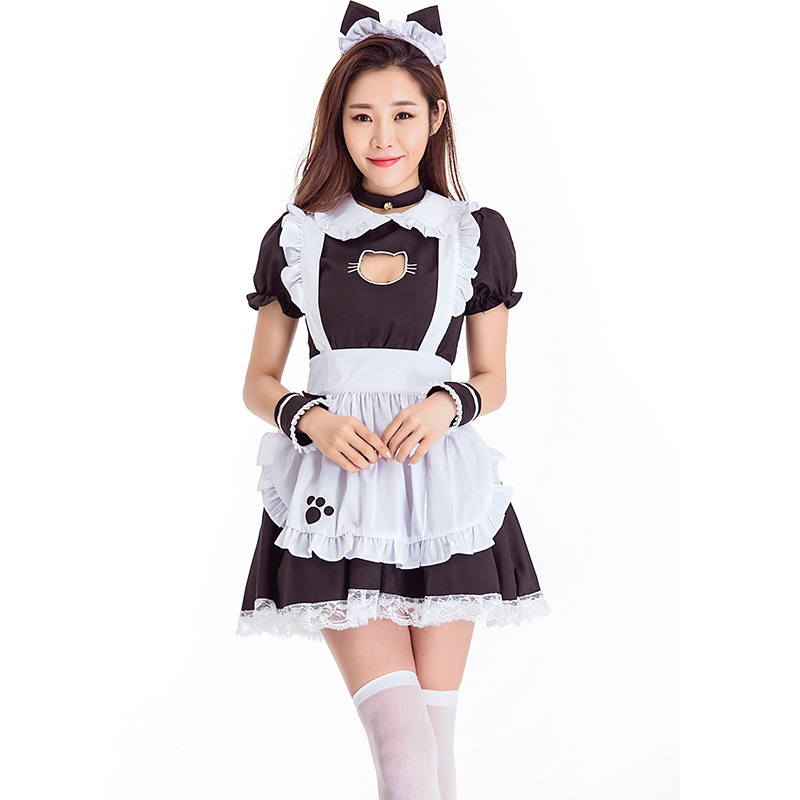 Love Live Black Cat Hollow Chest <font><b>Cosplay</b></font> Maid Costume Halloween <font><b>Lolita</b></font> Neko Cat Waitress Maid Party Stage <font><b>Sexy</b></font> Dress image