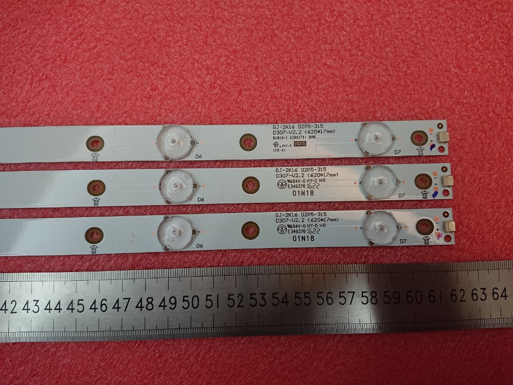 New Kit 3 PCS 7LED 620mm LED Backlight Strip For 32PHT4201/60 32PFT4131 32PHH4101 GJ-2K16 D2P5-315 D307-V2 01N19 01N18