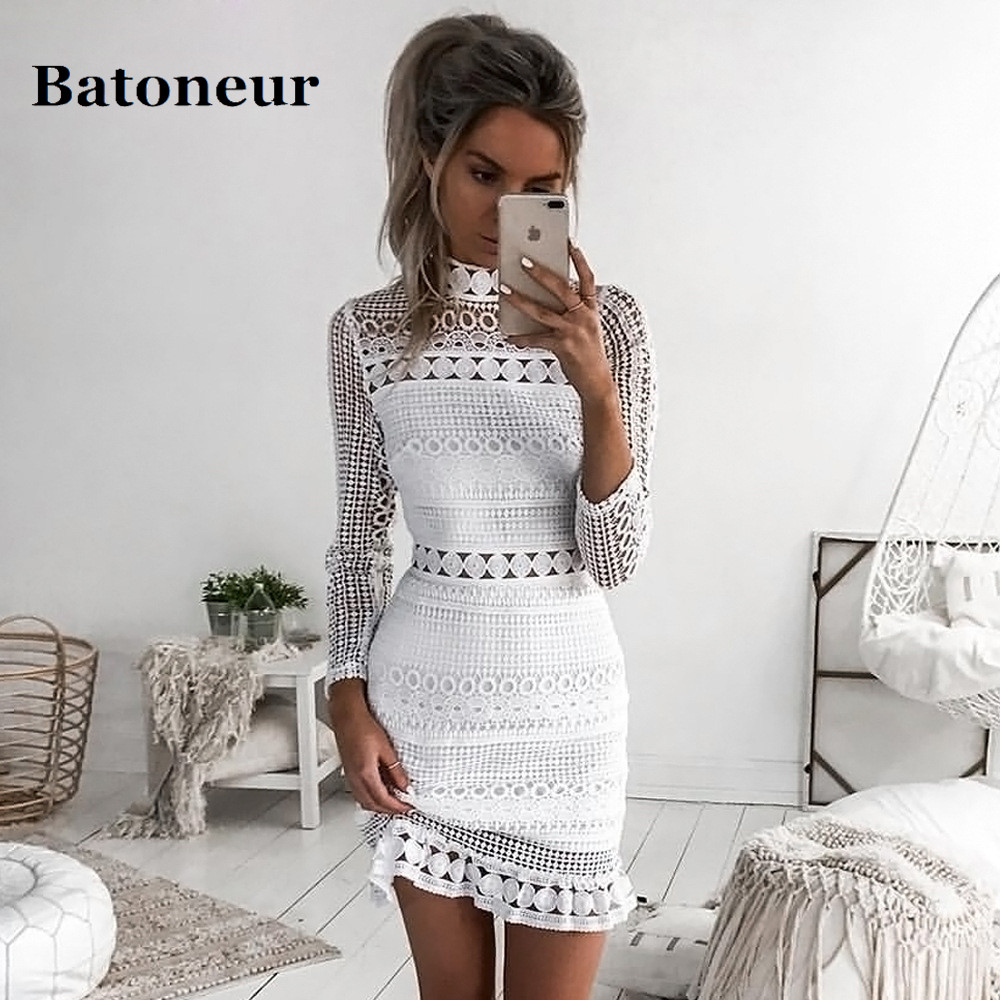 5a01d1d6dba Detail Feedback Questions about Elegant White Lace Openwork Dress Vintage  Long Sleeve Frill Vestidos 2018 Summer Ladies Party Club Dress on  Aliexpress.com ...
