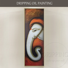 Skilled Artist Hand-painted Special Elephant Ganesha Oil Painting on Canvas Indian God Long Nose Figure