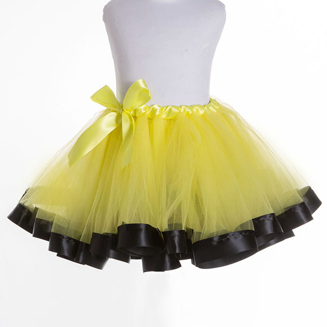 Girl's Black Ribbon Trimmed Princess Tutu Yellow Tulle Skirt Handmade Birthday Party Dance Ballet for Child Size 2-12 years