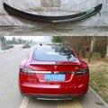 Accesorios del coche negro Brillante De Fibra De Carbono posterior del tronco del ala Spoiler para Tesla Model S 85 P85D 2012 2013 2014 2015 2016