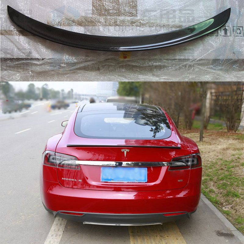 Us 11896 23 Offcar Accessories Glossy Black Carbon Fiber Rear Trunk Wing Spoiler For Tesla Model S 85 P85d 2012 2013 2014 2015 2016 In Spoilers