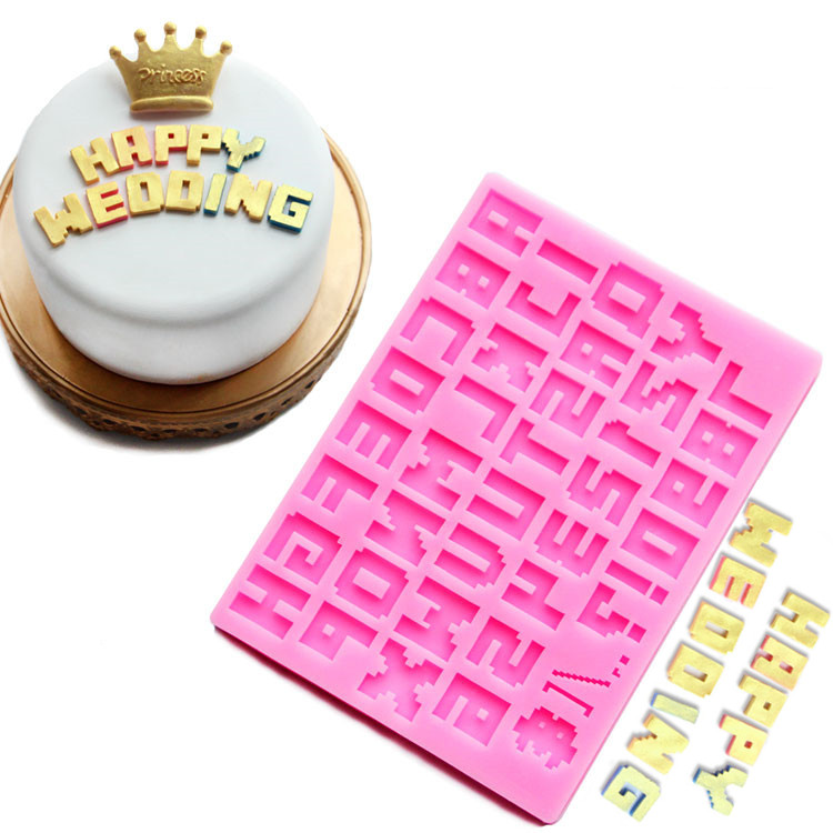 26 english letters number silicone mold alphabet fondant for Alphabet blocks cake decoration