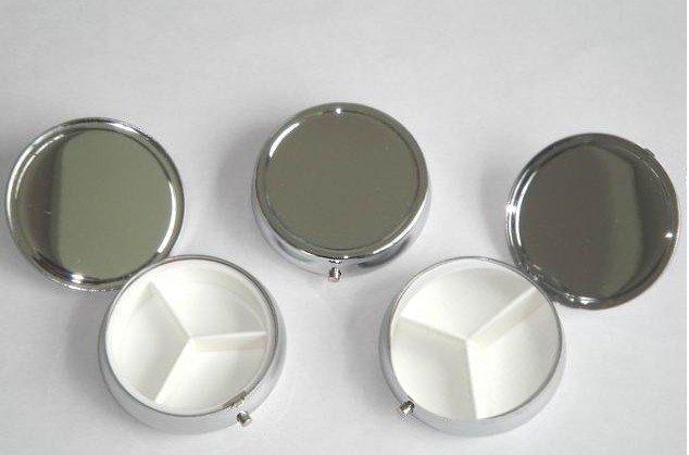 100pcs Metal Pill boxes DIY Medicine Organizer container silver Free Shipping
