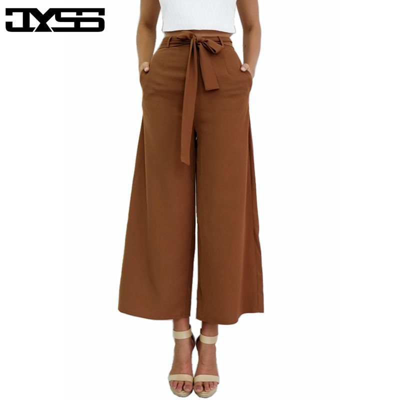 2017 summer elegant high waist ankle length trousers for women sexy loose street wearing ladies straight