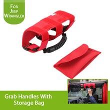 For Jeep Wrangler 2007-2018 Car Interior Armrest Sticker Grab Handles With Storage Bag ABS+Oxford