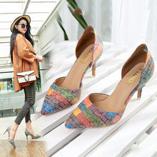 2019 New clear heels high heel fine and print tip hollow shallow mouth fashion women sandals