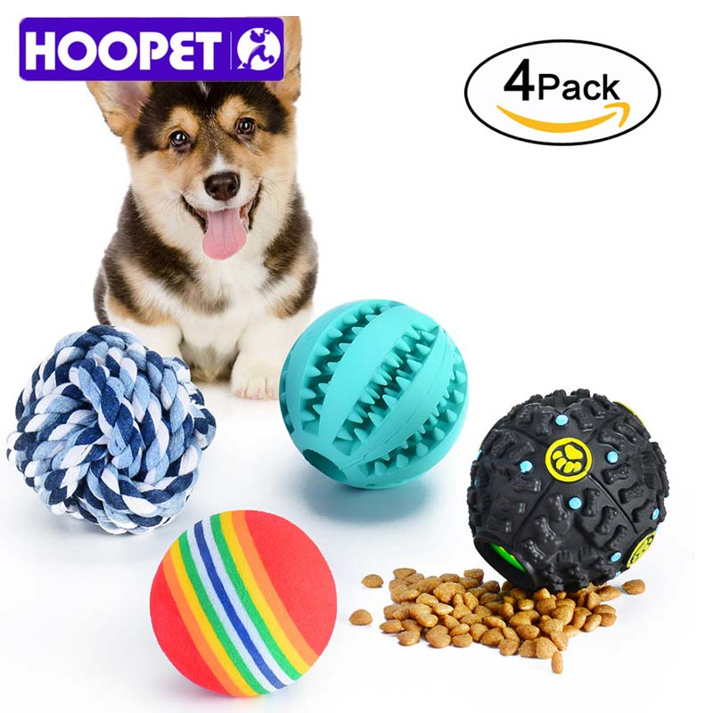 4Pcs/Pack Dog Toys Interactive Rubber Balls Pet Dog Puppy Elasticity Teeth Ball Dog Chew Toys Tooth Cleaning Rope Balls