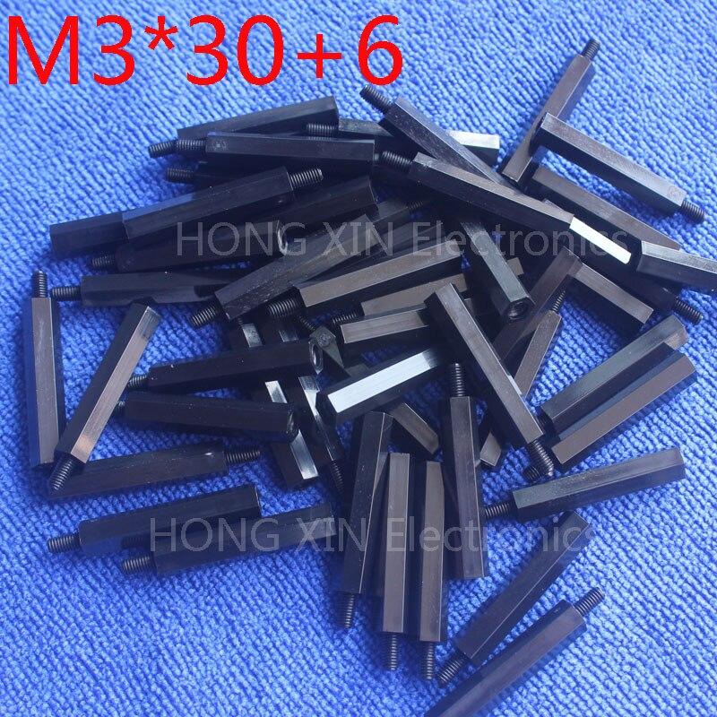 M3*30+6 100pcs Black Nylon Standoff Spacer Standard M3 Male-Female 30mm Standoff Kit Repair Set High Quality 100pcs m3 black nylon standoff m3 5 6 8 10 12 15 18 20 25 30 35 40 6 male to female nylon spacer