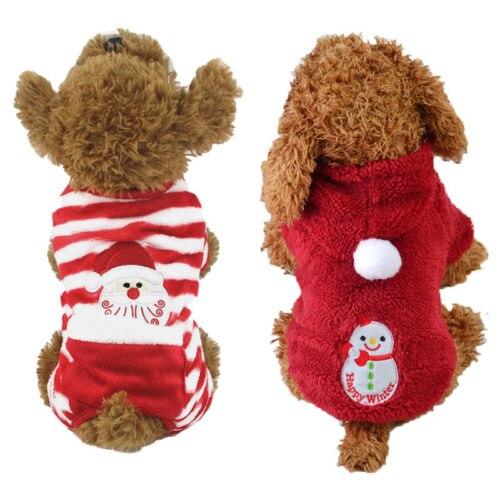 Hot Fashion Pet Dog Velvet Hoodies Red Striped Santa