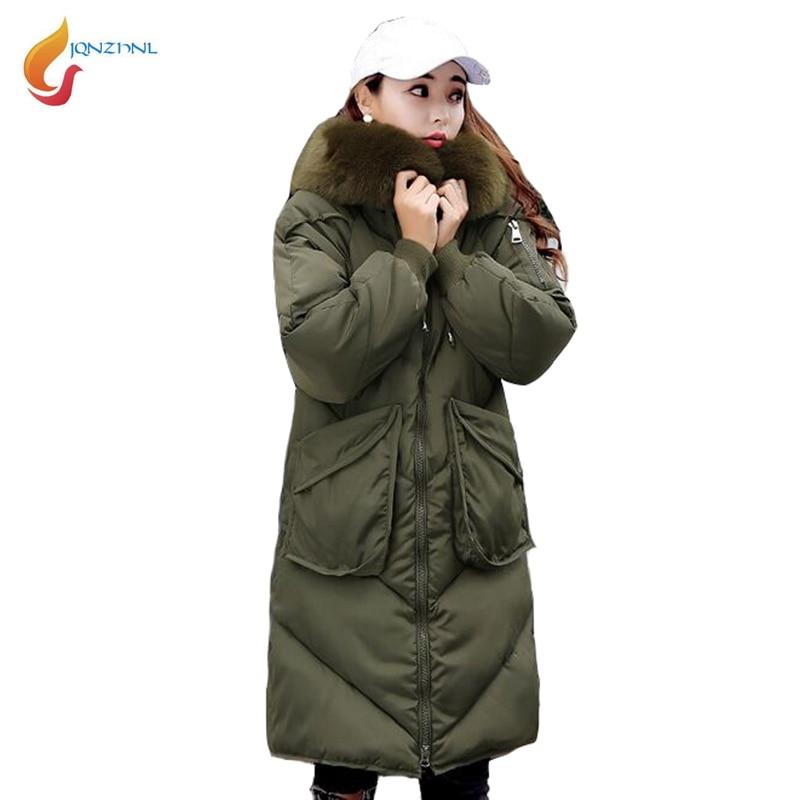 JQNZHNL 2017 New Winter Coats Big Fur Hooded Women Down Cotton Coats And Jackets Medium Long Slim Thicken Cotton Coat Parka L583 цены онлайн