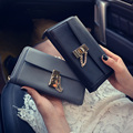 New Fashion Chain Women Long Wallet Lock Design Fashion Purse Vintage Casual Multi-function Clutch Bag Phone and Card Holders