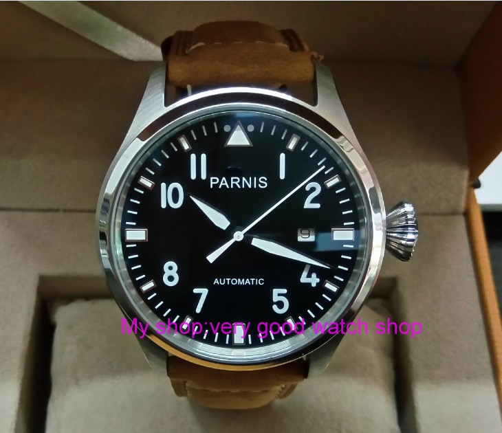 47mm big pilot PARNIS Black dial Automatic Self-Wind movement Auto Date men watches luminous Mechanical watches df128A