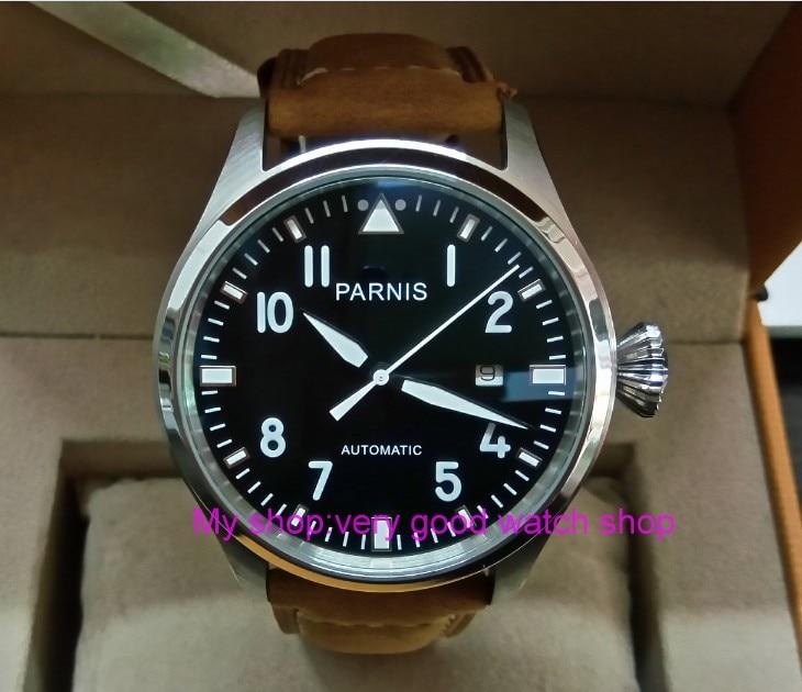 47mm big pilot PARNIS Black dial Automatic Self-Wind movement Auto Date men watches luminous Mechanical watches df128A