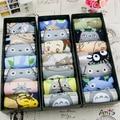 Verão das mulheres finas meias conjunto caixa de presente 3d impressão dos desenhos animados Totoro totoro animal chinelos meias 100% algodão meias curtas meias
