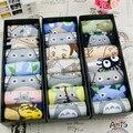 Verano de las mujeres delgadas sistema de la caja de regalo de impresión 3d de dibujos animados totoro Totoro animales calcetines calcetines 100% algodón deslizadores del calcetín corto calcetines
