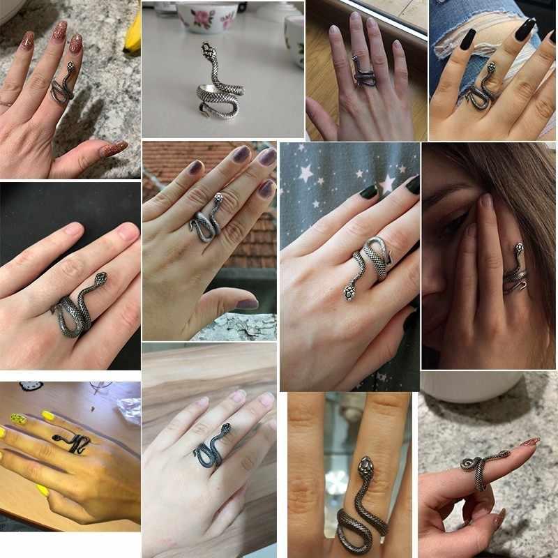 Punk สัตว์แหวนโกธิคสีดำโลหะเงินแหวนงูสำหรับผู้หญิงผู้ชาย Night Club Unisex ปรับ Anillos เครื่องประดับ Drop Shipping