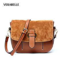 VERABELLE 2017 new thread Vintage Nubuck cowhide Split Leather Shoulder women sadder high quality messenger crossbody