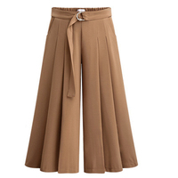 Elegant Wide Leg Trousers For Women Night Length Breeches Woman Pleated Trousers Skirt Sashes Slim Thin