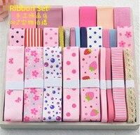 Pink Series 27 Yards Mixed Tapes Printed Grosgrain Ribbon Lace Satin Ribbon Set DIY Hairpin Accessories